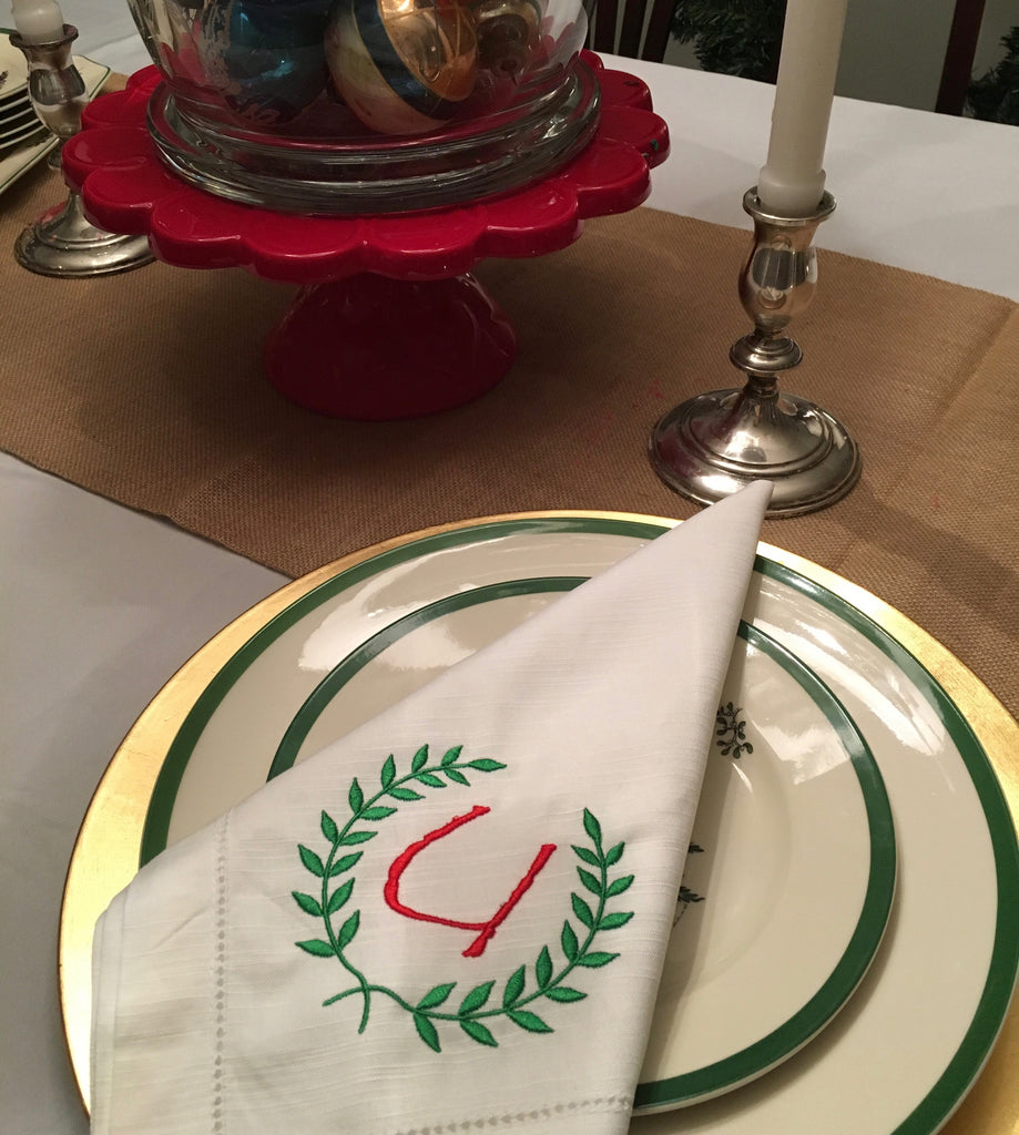 HEMSTITCHED LINEN DINNER NAPKINS - SET OF 6