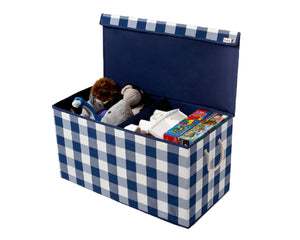 Navy & White - Check & Balance Storage Chest