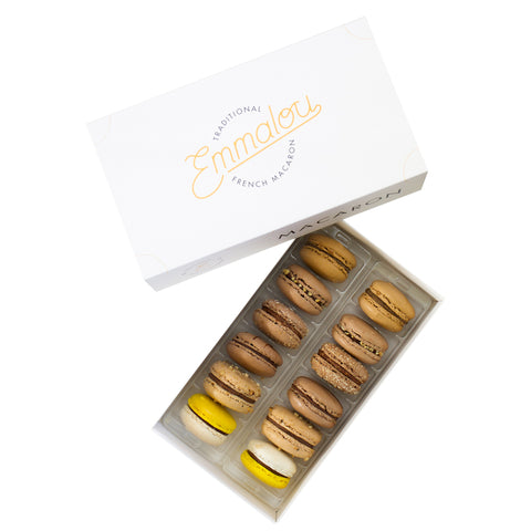 Emmalou chocolate macaron box, traditional French macaron handmade in New Zealand