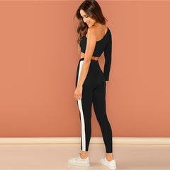 Black Shoulder Activewear Set