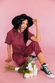 Luscious Berry Utility Jumpsuit