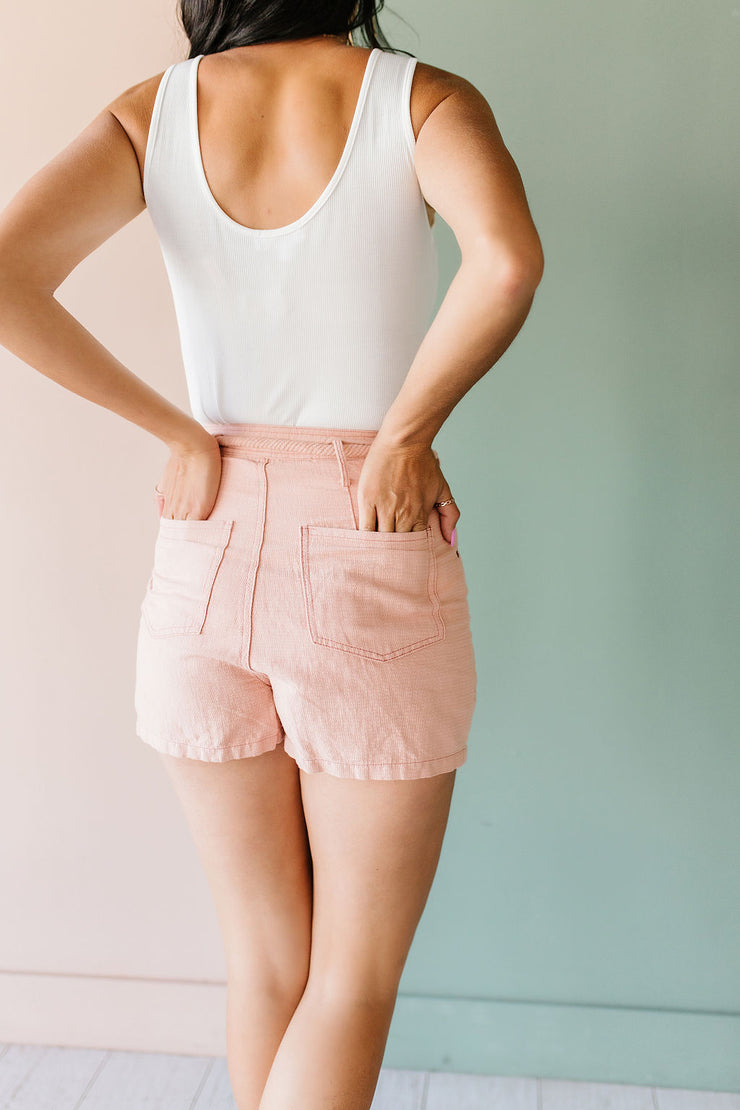 Blush rope tie shorts