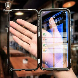 Baseus Metal Magnet Adsorption Front And Back Tempered Glass Case Cover For iPhone X - iBaseus