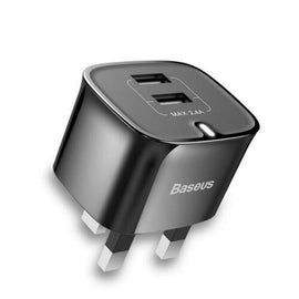 Baseus Dual USB Port 2.4A Fast Charger Plug for iPhone 6/ 7/ 8+/ X/ XR/ XS/ Samsung S8 - iBaseus