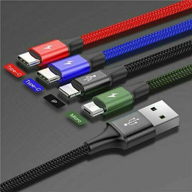 Baseus 4in1 3.5A Multi USB Charger Data Cable for Type C Micro Android Apple - iBaseus