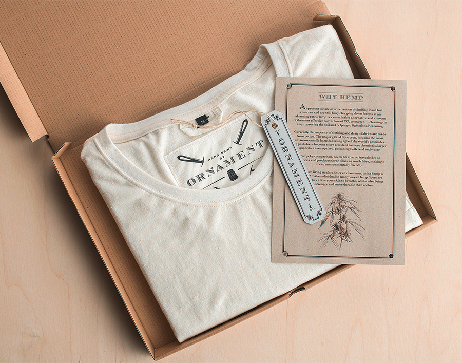 Ornament sustainability hemp t-shirt in recyclable box