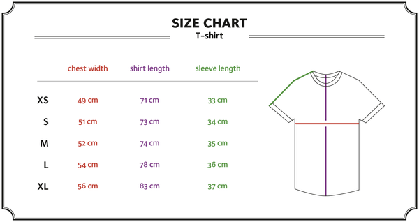 Ornament hemp organic cotton T-shirt size chart with template