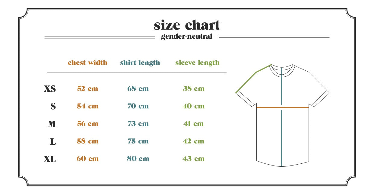 Ornament hemp Magu T-shirt size table