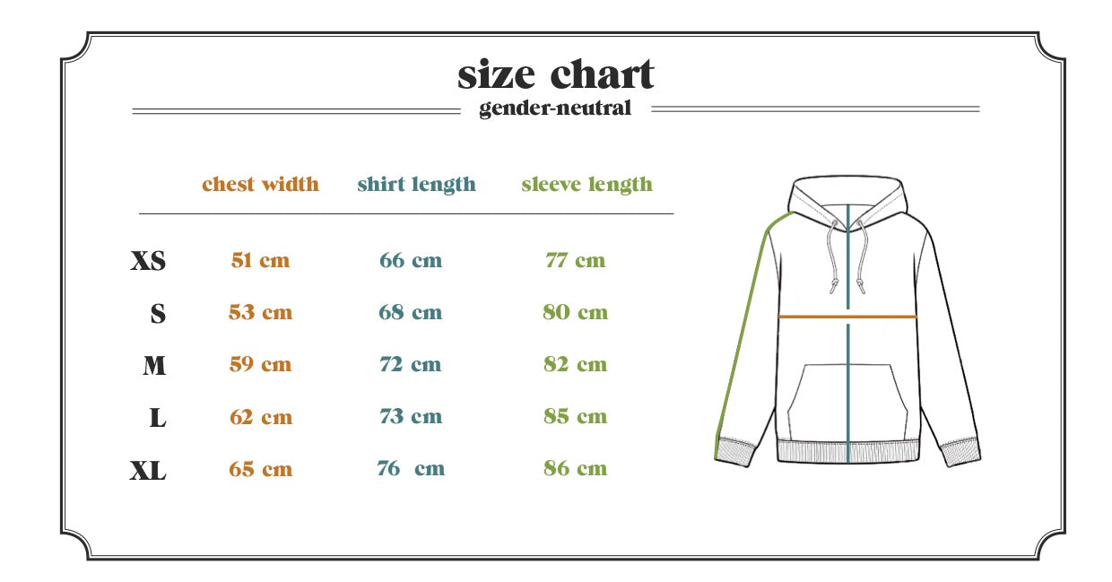 Ornament hemp and bamboo hoodie size table