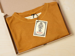 Sustainable Hemp and organic cotton T-shirt hand dyed in sunshine ocher yellow in recycled box