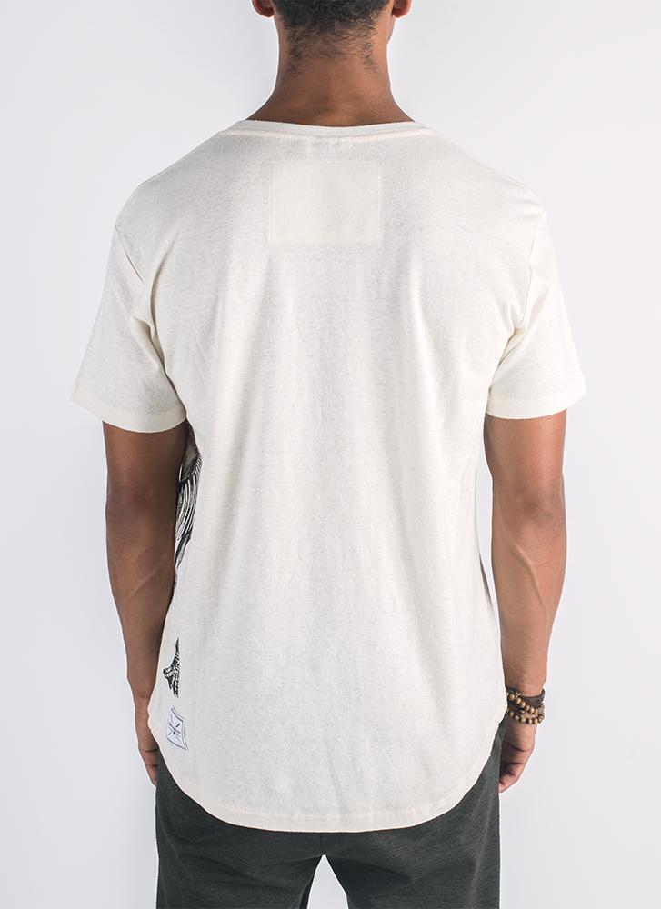Ancient Revival screen printed mammoth skeleton print on hemp t-shirt in natural color_ Back