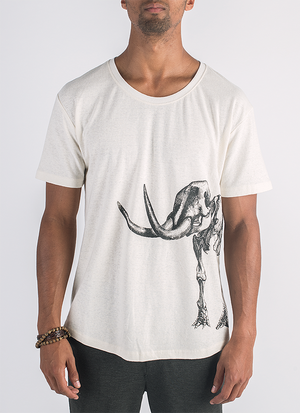 Ancient Revival screen printed mammoth skeleton print in black ink on hemp t-shirt in natural color_ Front