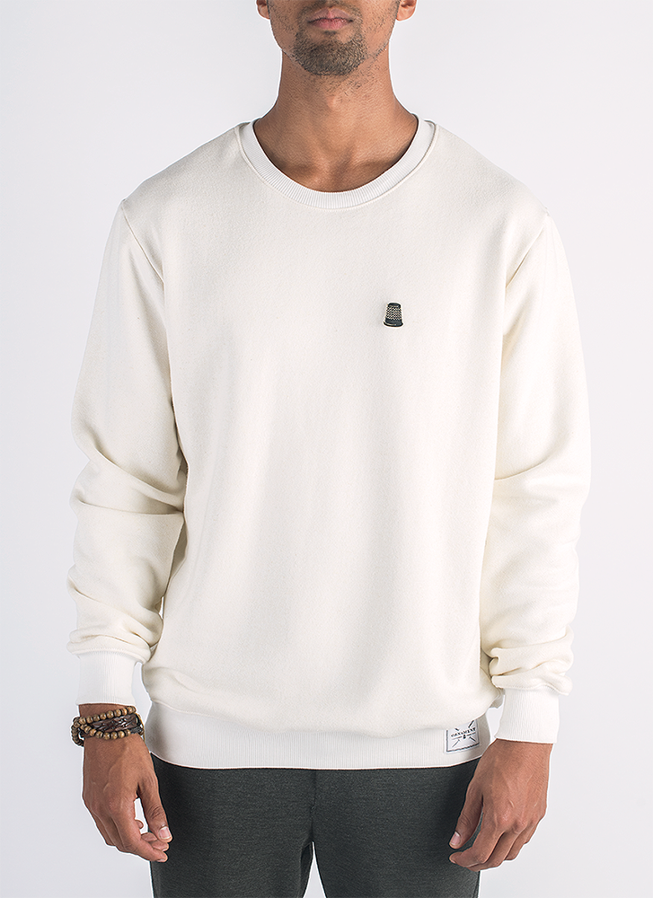 Blanco hemp and bamboo sweater in natural color with removable metal thimble pin_ Front