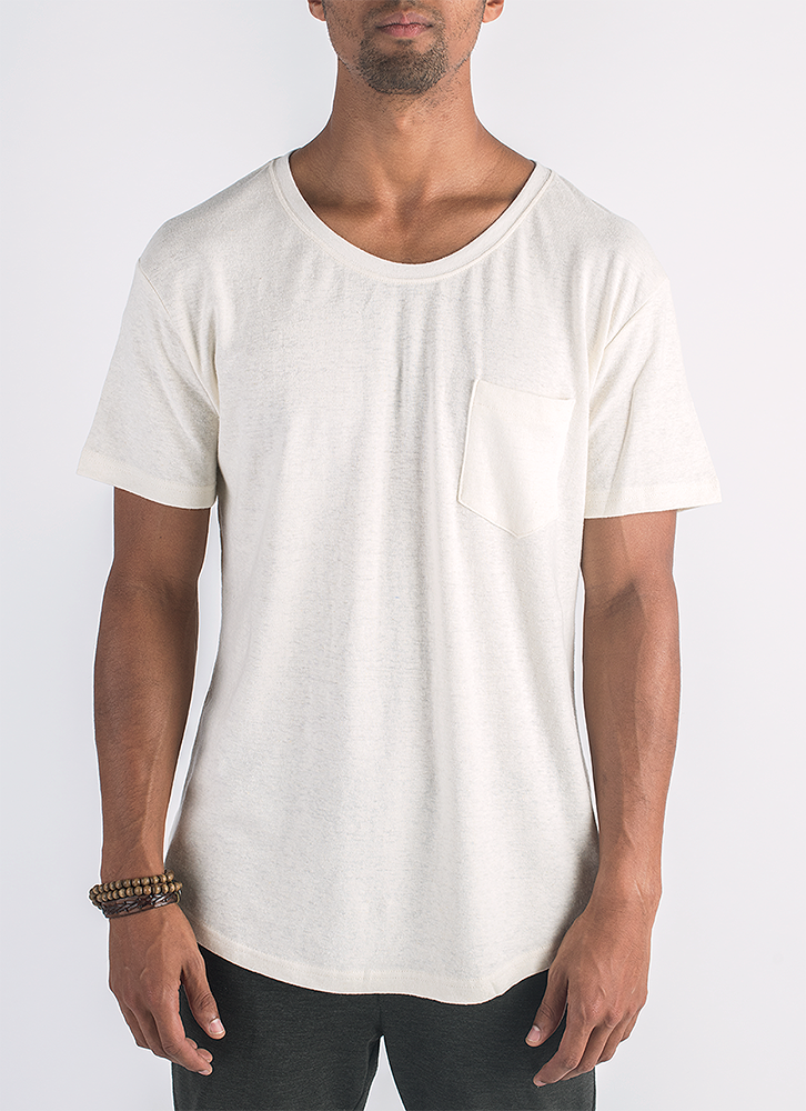 Blanco hemp and organic cotton t-shirt with pocket in natural color_ Front