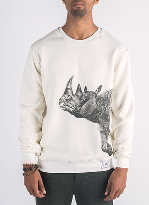 Suspicious Rhinoceros screen printed in black ink on hemp and bamboo sweater in natural color_ Front