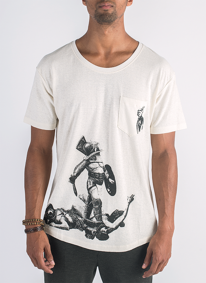 Live and let live screen printed gladiator print on hemp t-shirt in natural color_ Front