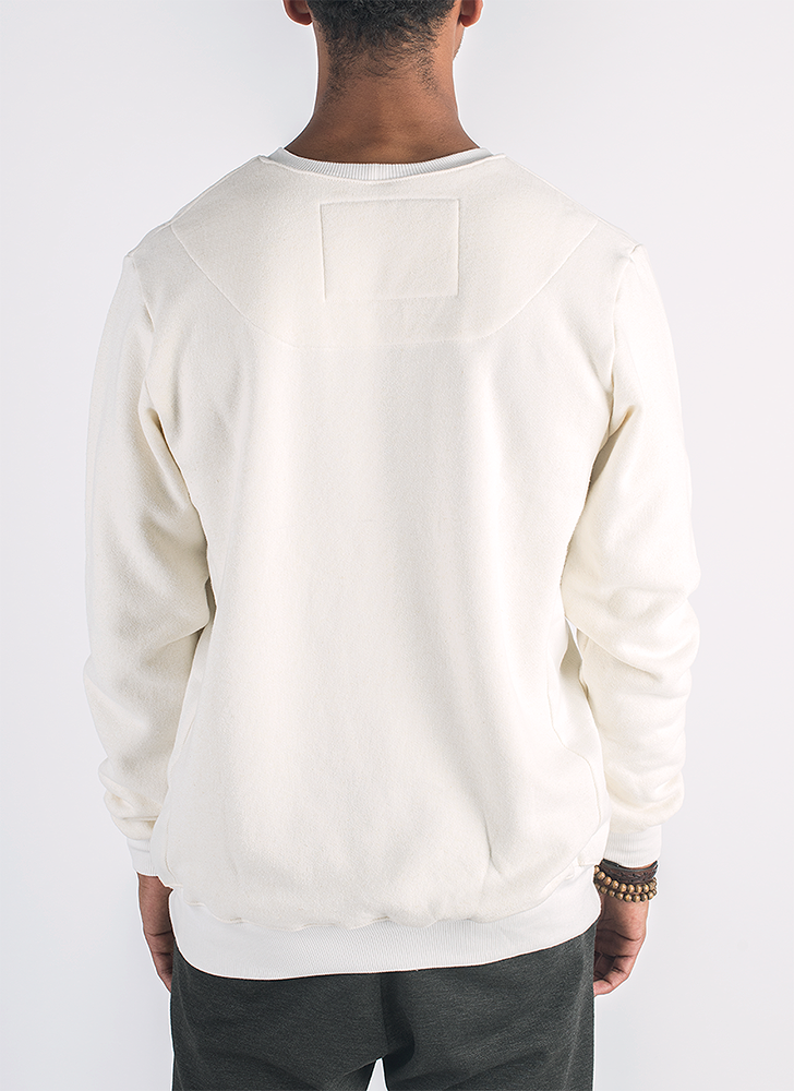 Blanco hemp and bamboo sweater in natural color with removable metal thimble pin_ Back