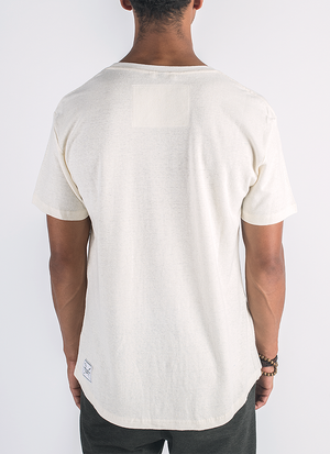 Blanco hemp and organic cotton t-shirt with pocket in natural color_ Back