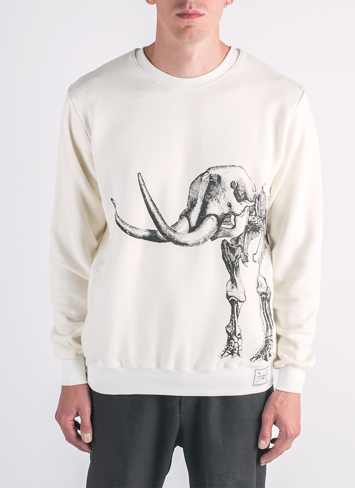 Ancient Revival screen printed mammoth skeleton print in black ink on hemp and bamboo sweater in natural color_ Front