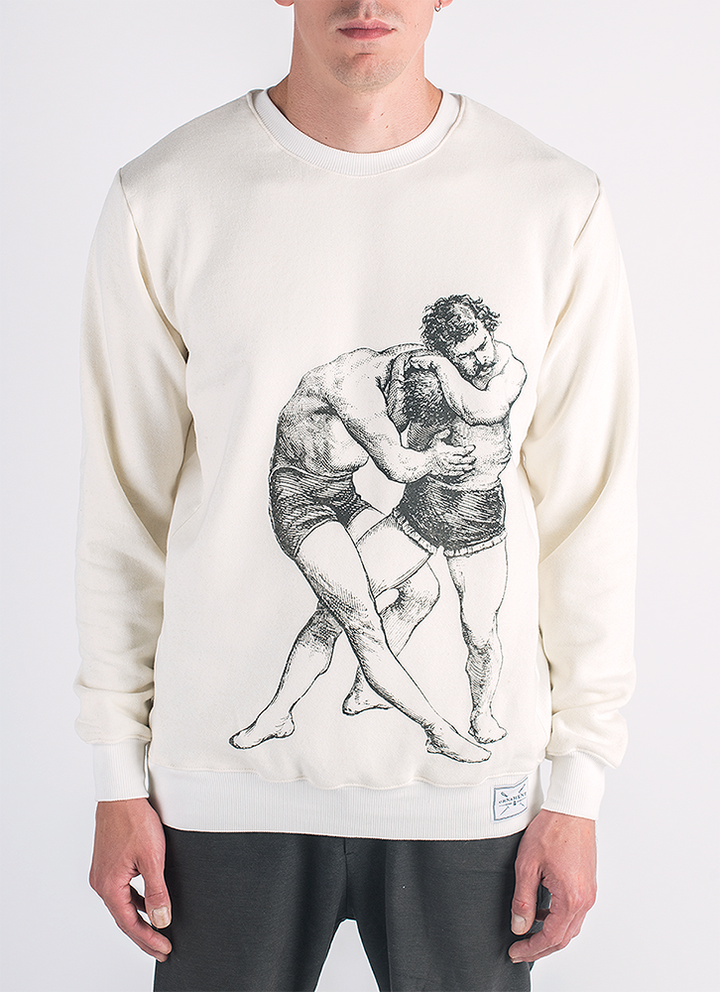 The struggle screen printed wrestling men print in black ink on hemp and bamboo sweater in natural color_ Front