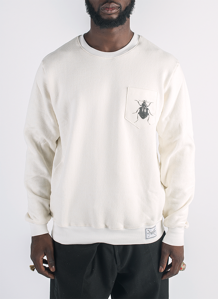Beetlebug screen printed in black ink on hemp and bamboo sweater in natural color_ Front