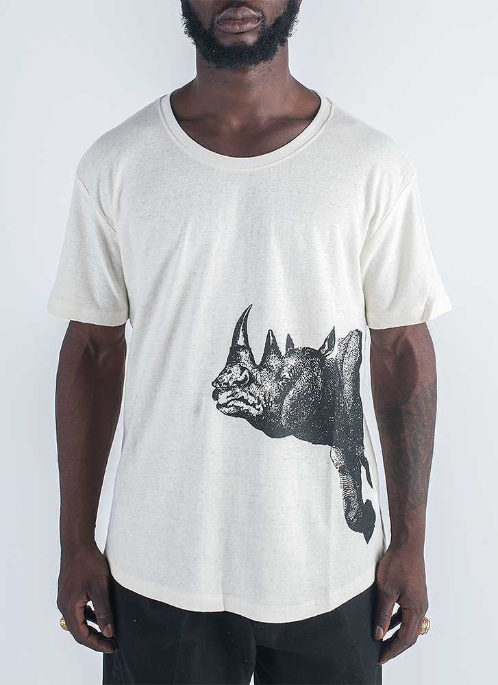 Suspicious Rhinoceros screen printed in black ink on hemp and organic cotton T-shirt in natural color_ Front