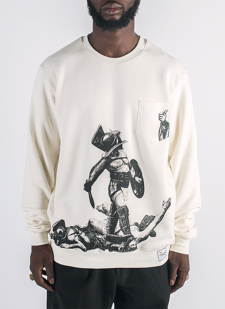 Live and let live screen printed gladiator print in black ink on hemp and bamboo sweater in natural color_ Front
