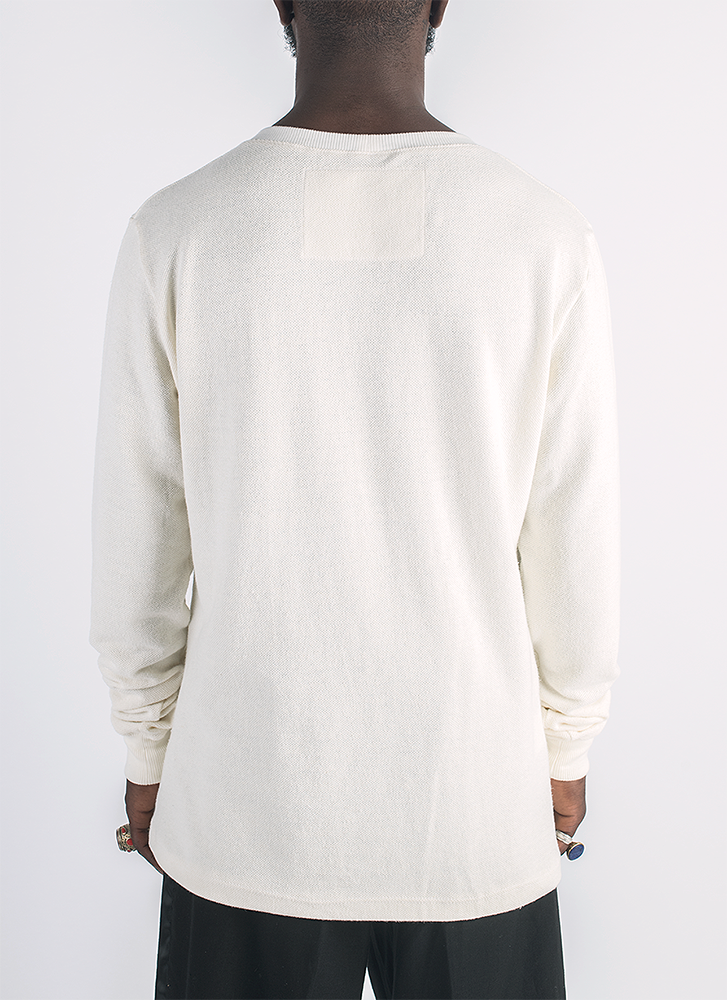 Blanco hemp and organic cotton long sleeve T-shirt shirt in natural color_Back