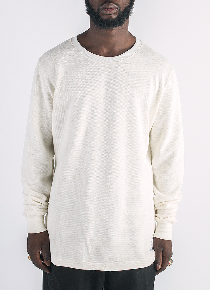 Blanco hemp and organic cotton long sleeve T-shirt shirt in natural color_Front