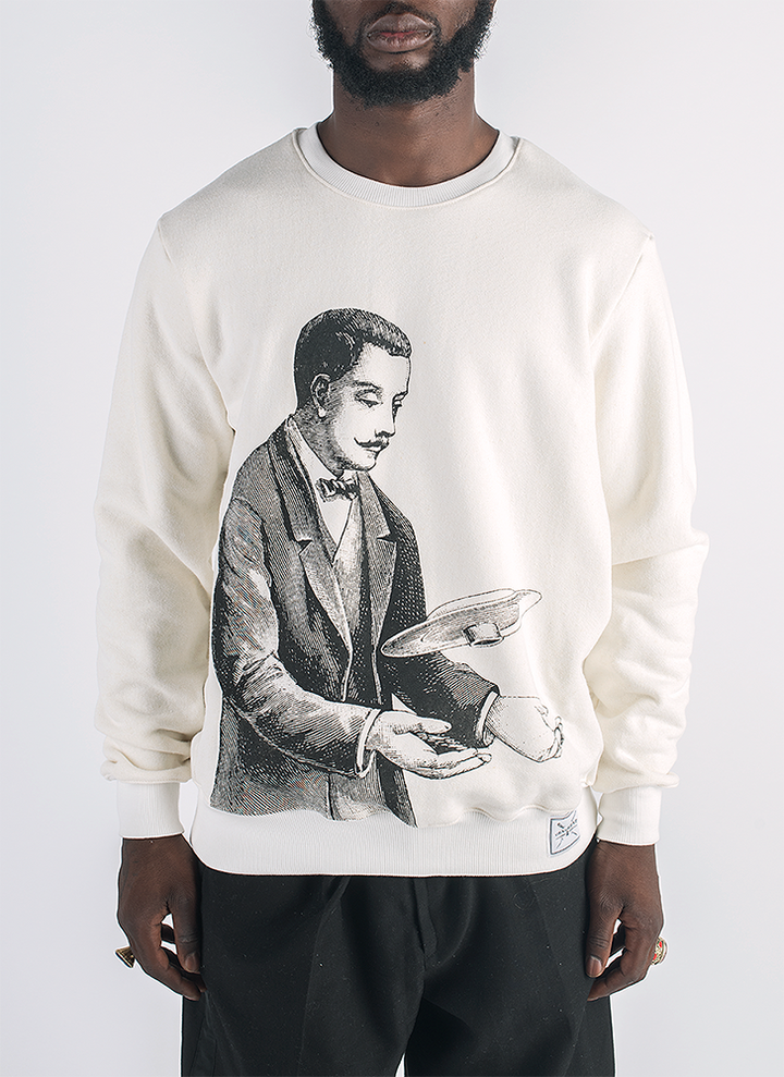Tesla screen printed man with flying saucer print in black ink on hemp and bamboo sweater in natural color_ Front