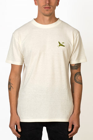Sustainable Hemp T-shirt with green crane bird embroidery on chest male front