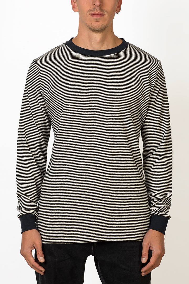Sustainable Hemp striped long sleeve T-shirt male front