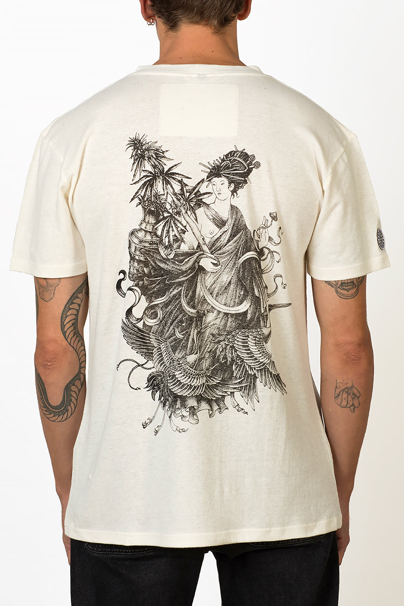 Sustainable Hemp T-shirt with black screenprint of magu the hemp godess on back male felix de kapitein collaboration