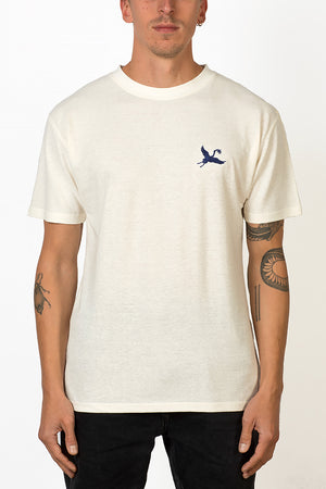 Sustainable Hemp T-shirt with blue crane bird embroidery on chest front male