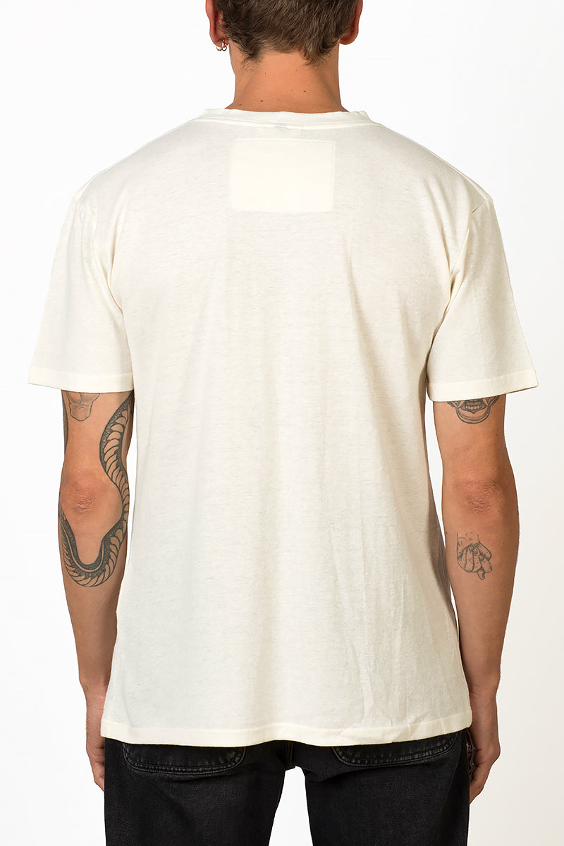 Sustainable Hemp T-shirt with blue crane bird embroidery on chest male back