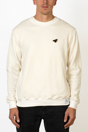 Hemp and bamboo natural crewneck sweater with removable crane bird pin front male