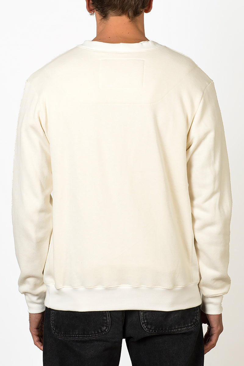 Hemp and bamboo natural crewneck sweater with removable crane bird pin back male