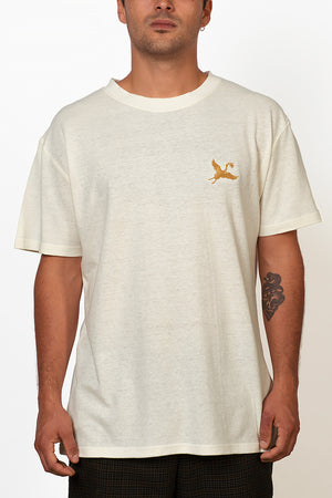 Sustainable Hemp T-shirt with yellow crane bird embroidery on chest front
