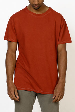 Sustainable Hemp T-shirt hand dyed in red on male front