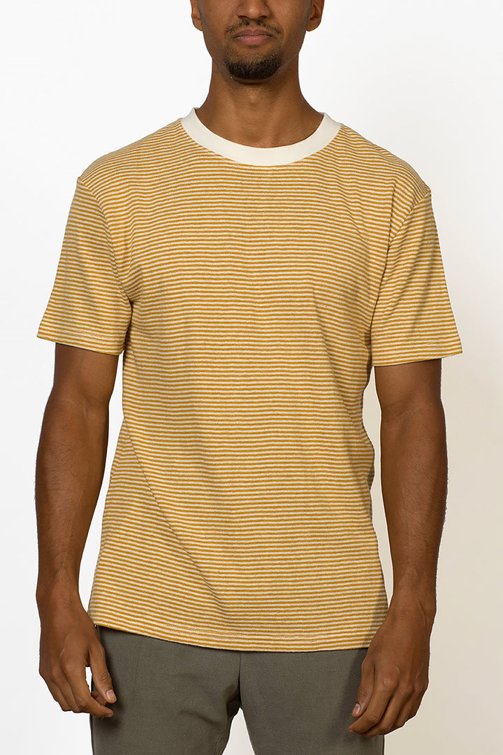 Sustainable Hemp T-shirt with yellow stripes male front