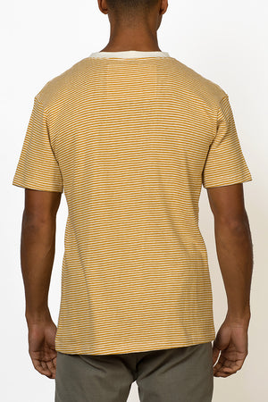 Sustainable Hemp T-shirt with yellow stripes male back