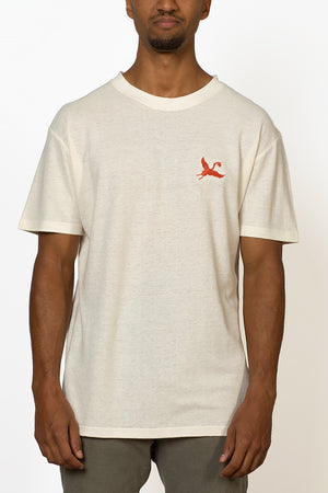 Sustainable Hemp T-shirt with red crane bird embroidery on chest front