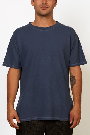 Sustainable Hemp T-shirt hand dyed in blue on male front