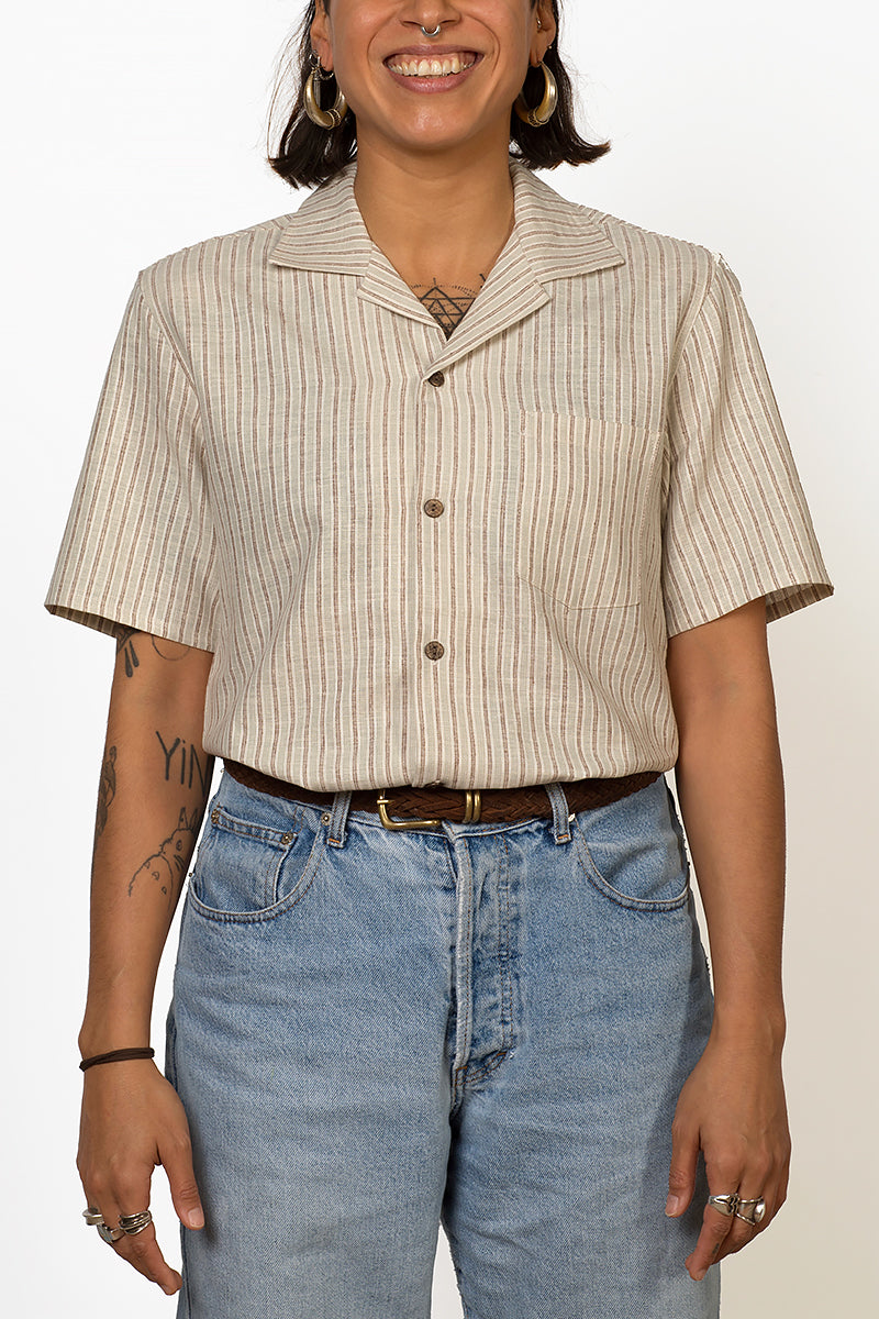 Monsoon hemp and organic cotton short sleeve shirt with coconut buttons female front