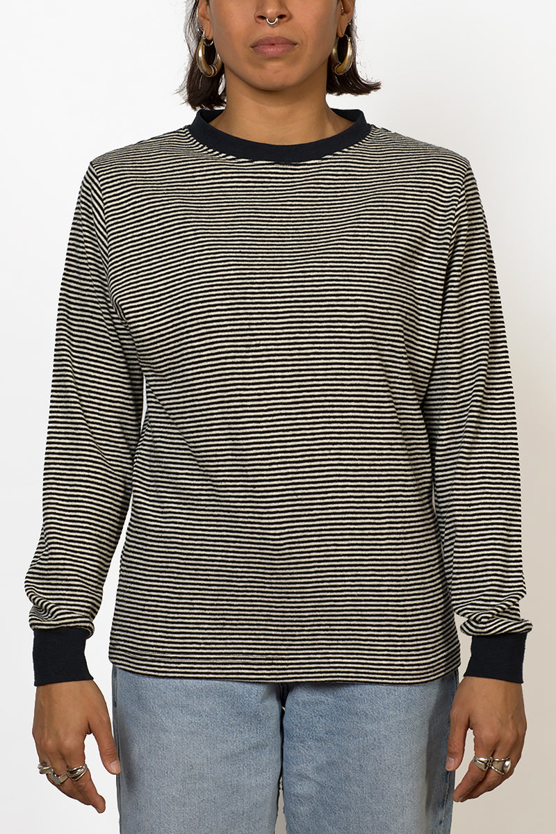 Sustainable Hemp striped long sleeve T-shirt front female