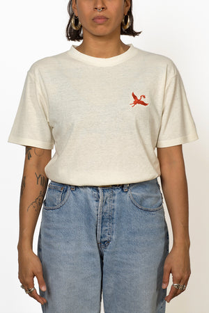 Sustainable Hemp T-shirt with red crane bird embroidery on chest front female