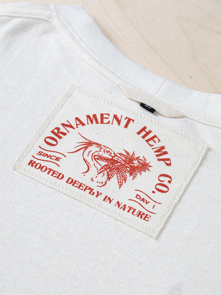Sustainable Hemp T-shirt with red crane bird screen printed neck label