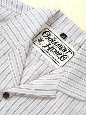 Monsoon hemp and organic cotton short sleeve shirt with coconut buttons screen printed ornament neck label