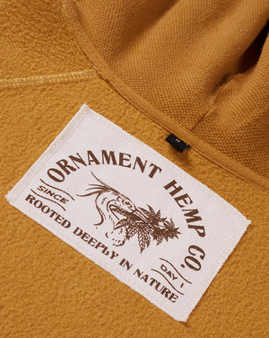 Sustainable hemp and bamboo hoodie in yellow with crane embroidery on chest inside screen printed neck label