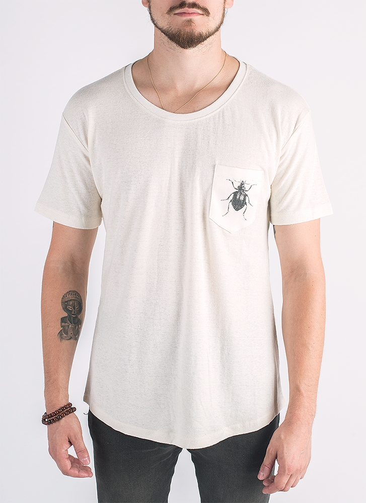Beetlebug screen printed on pocket in black ink on hemp t-shirt in natural color_ Front